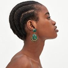 купить White Marble Texture Fanned Piercing Earring Vintage Statement Earring Fashion Women Earrings Vintage Rhinestone Drop Earrings онлайн