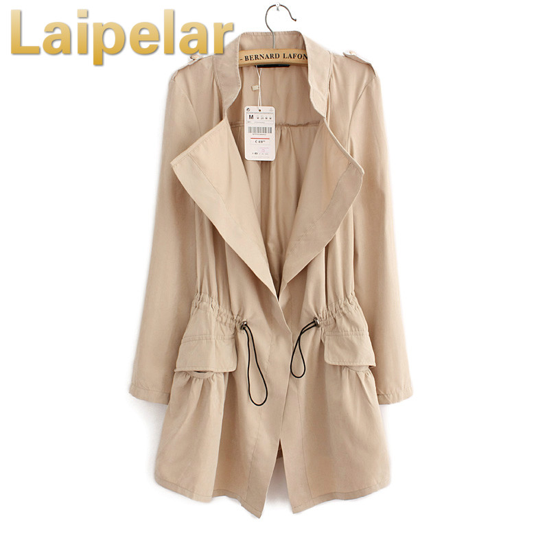 2018 Women Cardigans Casual Spring Autumn Turn-down Collar Long   Trench   Ladies Pleated Pocket Design Outwear Coat Laipelar   Trench