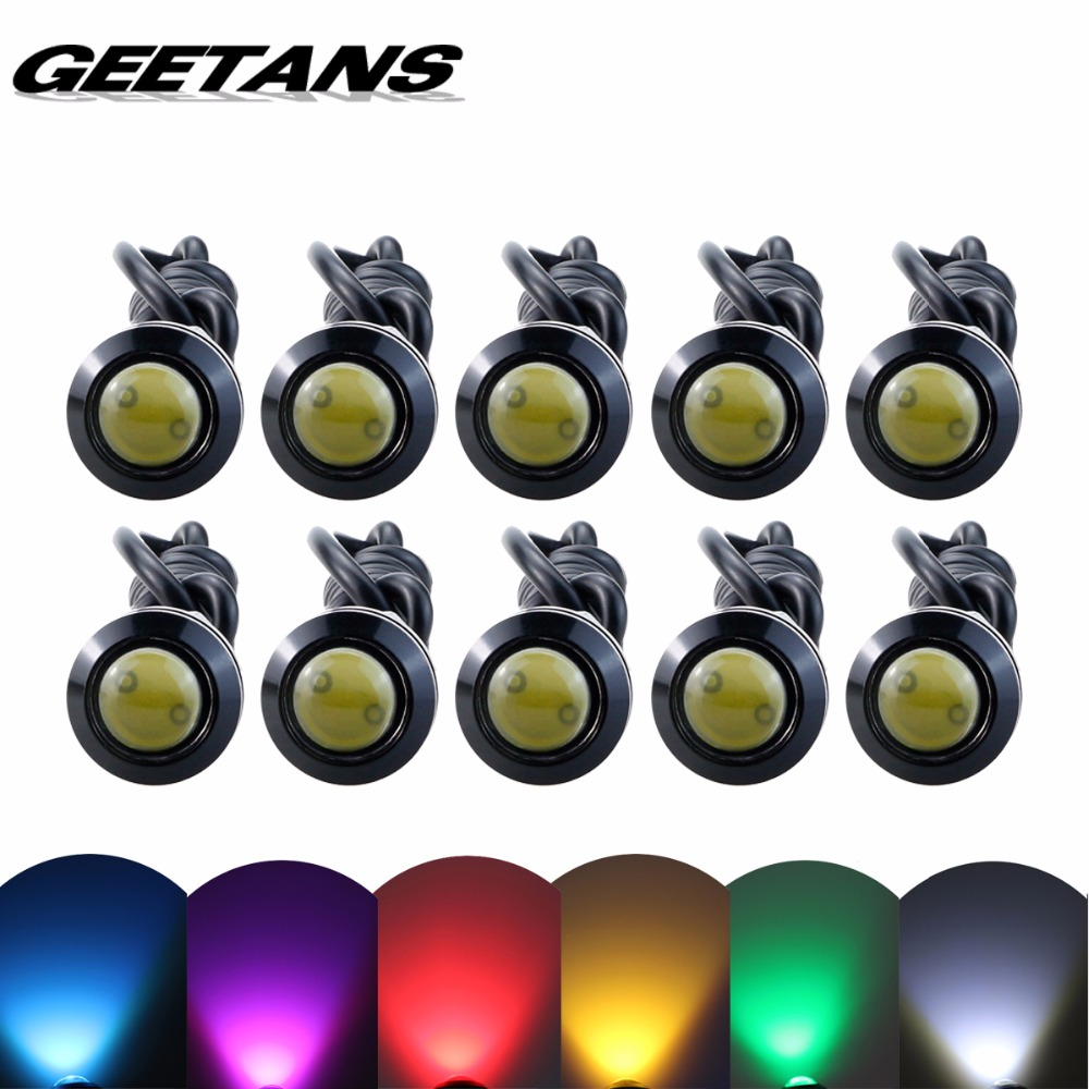 GEETANS Newest 10pcs LED Eagle Light Eye Car Fog light DRL Daytime Running lights Reverse Backup Signal Parking Black Silver BE