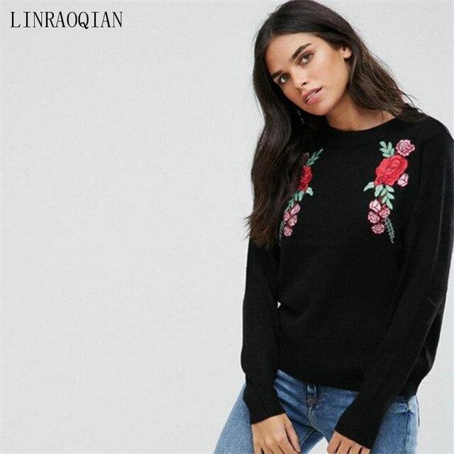 LINRAOQIAN Flower Embroidery T Shirt Women Long Sleeve Cotton Tops Fashion  Autumn Winter Tshirt Women Blackpink Tee Shirt Femme 5011846dd9e9