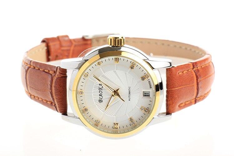 BIAOKA Brand New Fashion Gold Watch Women Stylish Leather Clock Classic Mechanical Wrist Dress Calendar Waterproof Watch