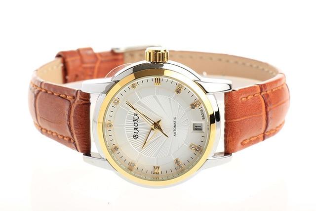 BIAOKA العلامة التجارية جديد الأزياء الذهب ووتش المرأة الأنيقة جلد ساعة الكلاسيكية الميكانيكية المعصم اللباس تقويم للماء ووتش