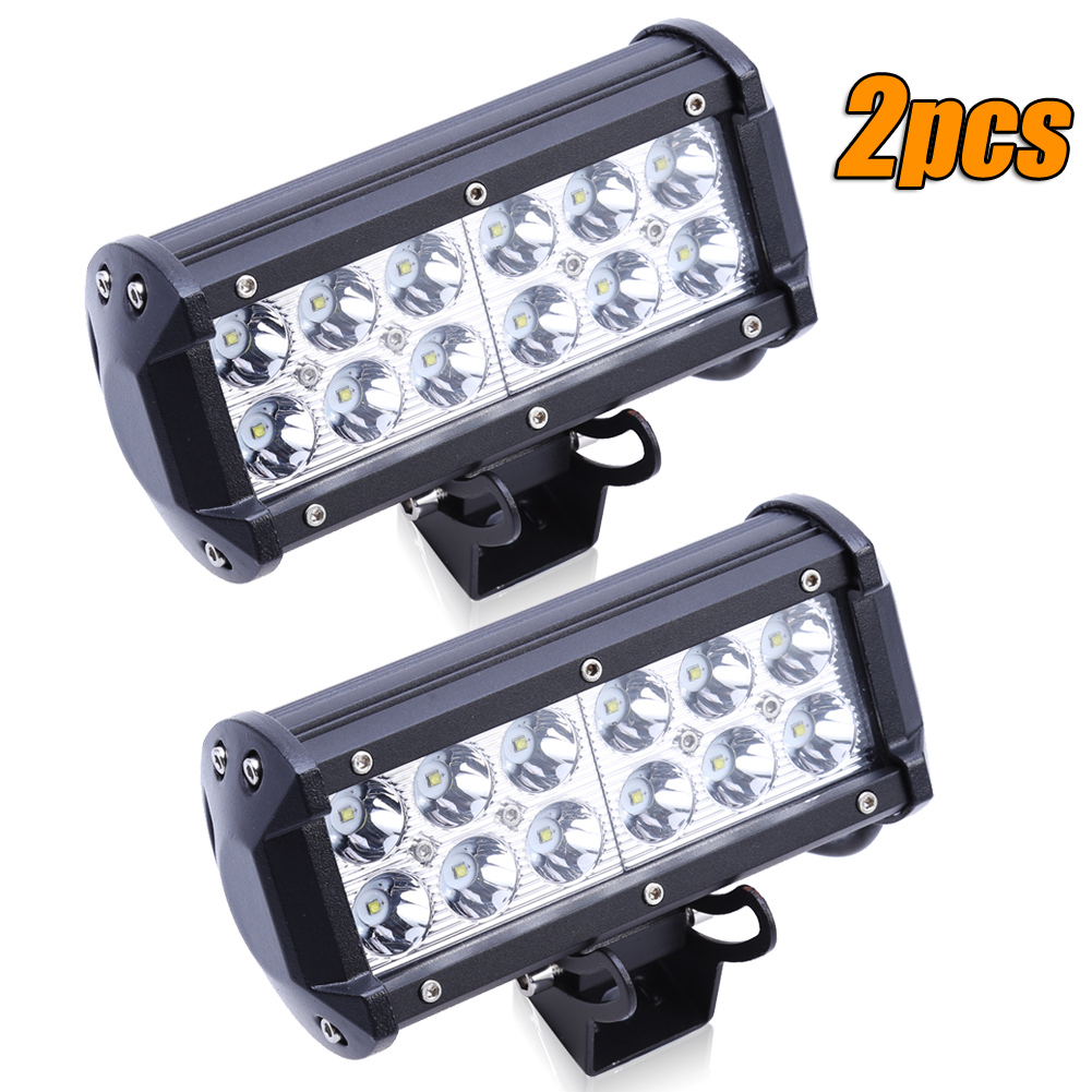 2Pcs 36W 7 LED Work Light Bar Offroad Spot Beam for Truck SUV Boat Waterproof Headlight Reverse/Brake/Fog Lamp for Tractor Ship 2pcs 36w 7 led light bar spot beam offroad driving light 12v 24v 4x4 truck for atv spotlight fog lamp