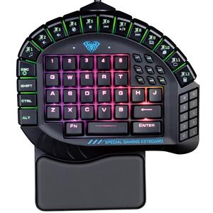 Image 1 - AULA Single Hand Macro RGB Backlit Mechanical Keyboard Blue Switch PUBG Game Gamer One Hand Split Mini Gaming Keyboards Computer