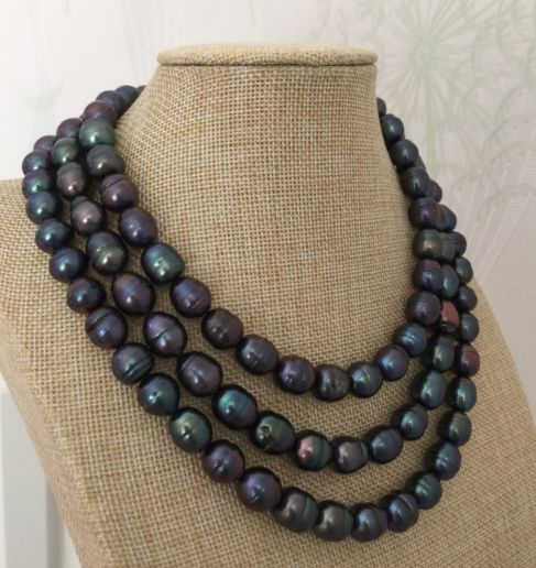 stunning 11-12mm tahitian black red green pearl necklace 40inch 925 silver