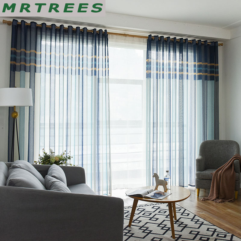 Striped Sheer Window Curtains For Living Room Kitchen