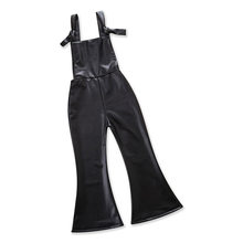 Baby Girls Kids Chic Faux Leather Boot Cut Long Pants Trousers Playsuit Jumpsuit New Fashion Cool Pomper(China)