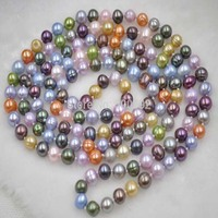 Free Shipping 140cm Long 7 8mm Multicolor Genuine Freshwater Pearl Necklace