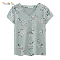 Yolanda Paz 2017 New Flowers Print Women T Shirt High Quality Short Sleeve V Neck Women