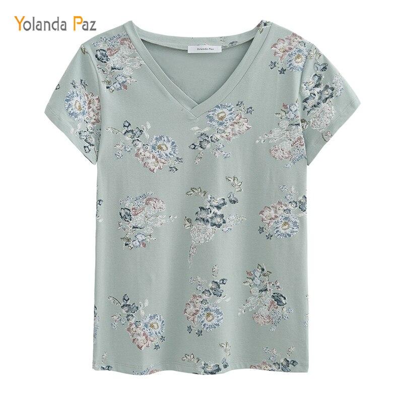 Yolanda Paz 2018 Newest Flowers Print Women   t     shirts   high quality short sleeve tops tees 100% cotton v-neck women summer   t     shirt