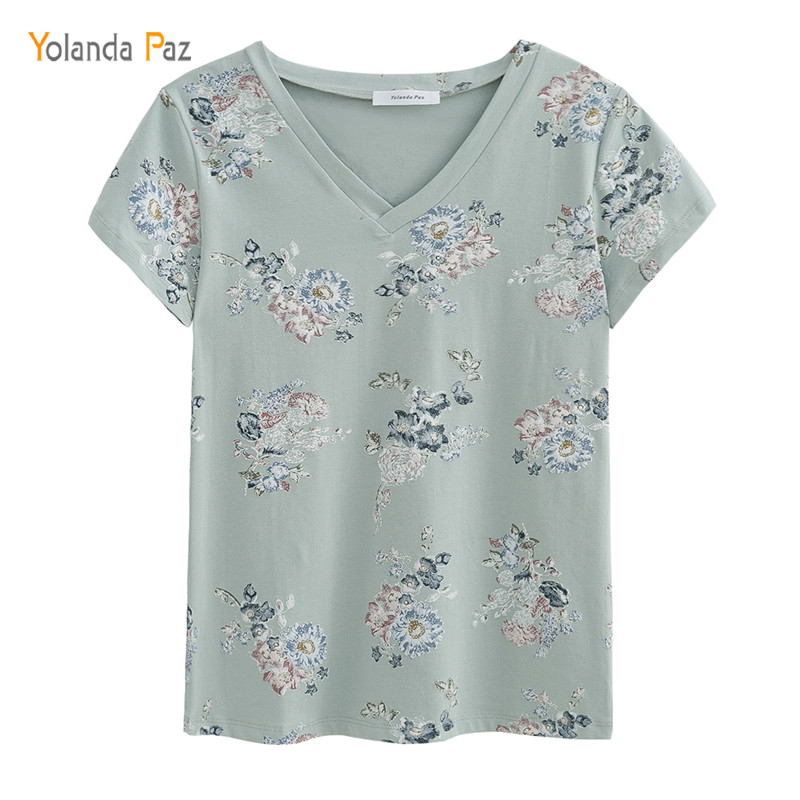 Yolanda Paz 2018 Newest Flowers Print Women t shirts high quality short sleeve tops tees 100% cotton v-neck women summer t shirt