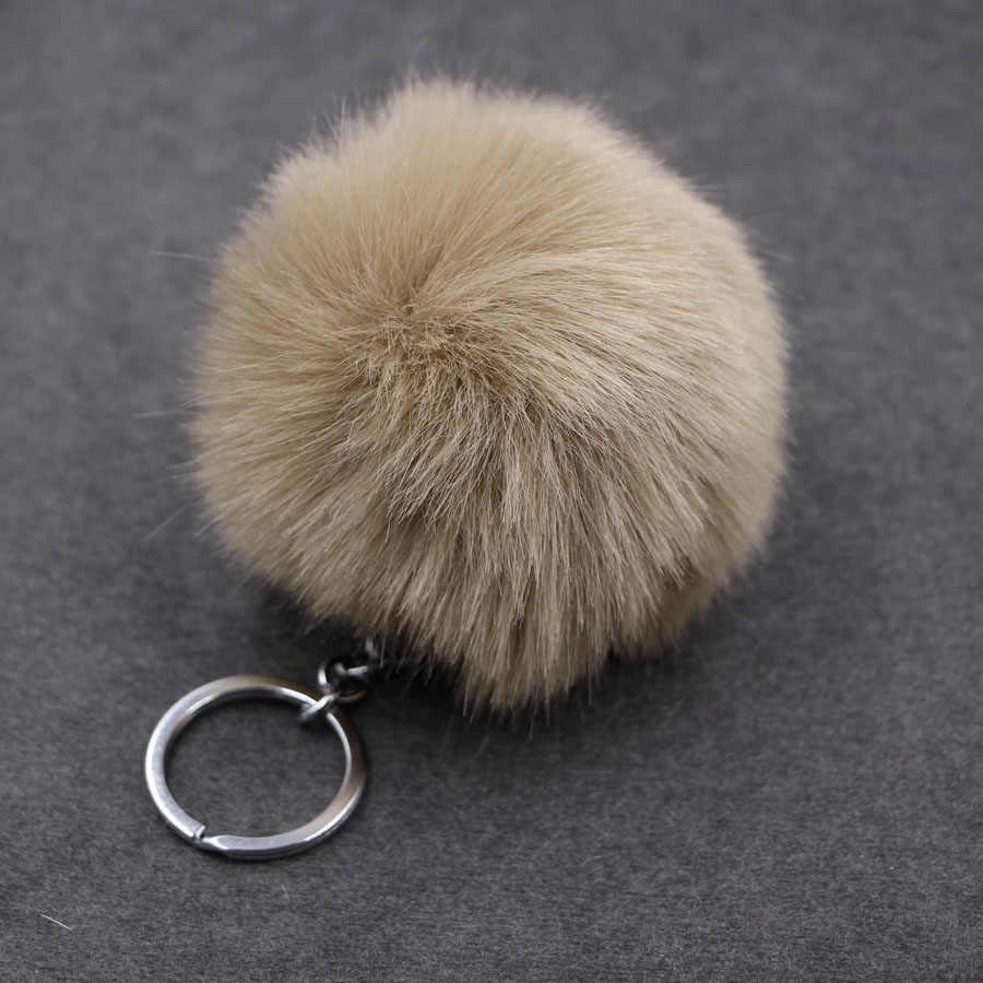 8 cm fofo pompon coelho bola de pele chaveiro anel feminino falso pele de coelho pom pom chaveiro saco encantos trinket jóias de casamento presente