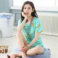 2017 Verão de Moda de Nova Rosa Sleepwear Pijamas de Algodão Curto-luva Bonito Dos Desenhos Animados Coelho Pentastar das Mulheres Lazer Home Wear
