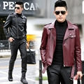2016 PU leather jacket male short design turn-down collar motorcycle leather clothing 8837