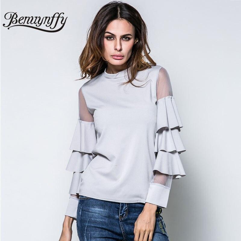 8311f0fa435 Benuynffy 2018 New Spring Summer T Shirt Women Fashion Tops Female Mesh  Patchwork Layered Sleeve Slim