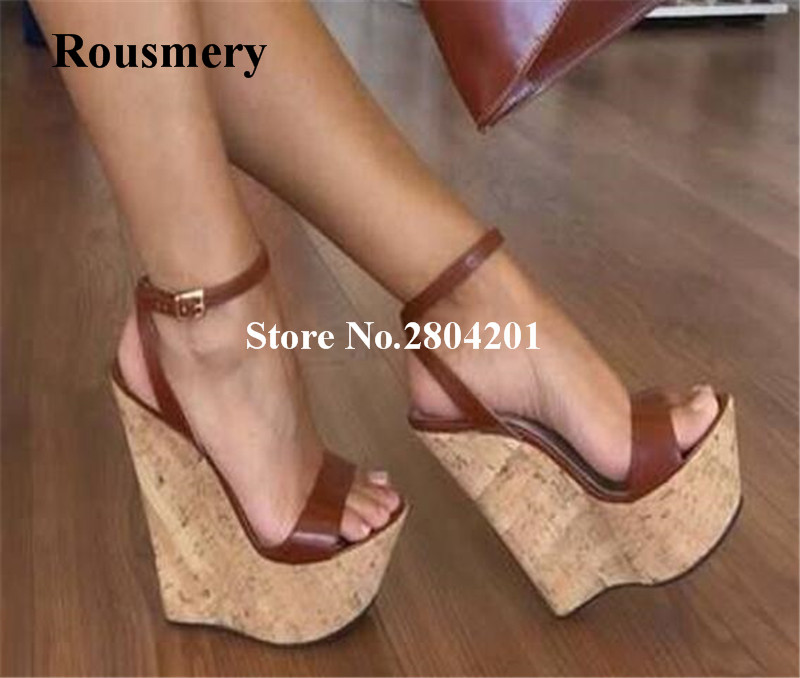 as Hohe Gladiator Schnalle Offene Sommer Holzmaserung Keil As Casual Plattform Sandalen Frauen Ferse Pic Spitze Pic vHn6qAF