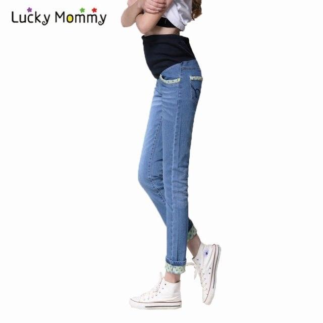 Для беременных джинсы живот пресс беременность брюки для беременных женщины брюки осень весна деним синий для беременных одежда