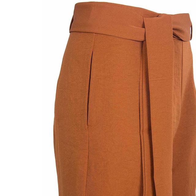 Fetoo 2017 Fashion Women Pants Wide Leg Pants with Belt Ankle-Length Trousers Women Capri Loose Casual Pants S-XL Brown Black