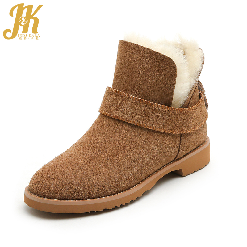 JK 2018 Keep Warm Thick Fur Snow Boots Women Genuine Suede Leather Chunky Heels Wool Winter Boots Female Snow Shoes Woman velvet thick keep warm winter hat for women rabbit fur knitted beanies ladies female fashion skullies elegant hats for women