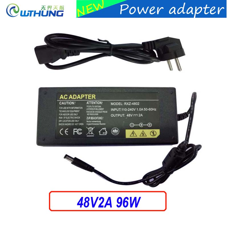 Power Supply Adapter input AC110v/220V output DC 48V 2A 96W IC protection  EU/AU/US/UK plug DC 5.5X2.1mm for IP cam Poe switch qualified ac 110 240v to dc 12v 1a cctv power supply adapter eu us uk au plug abs plastic