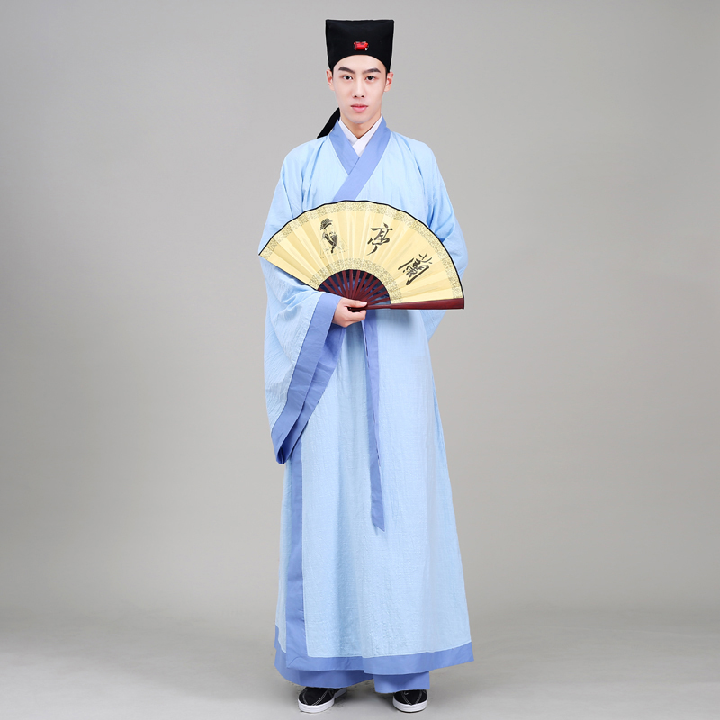 Cotton Linen Made traditional male Han costume Hanfu TV play Movie stage Blue costume Ancient Chinese Literature Style Outfit