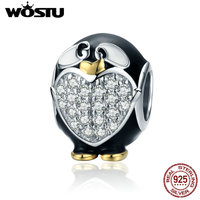 WOSTU Authentic 100 925 Sterling Silver Adorable Dolphin Clear CZ Charm Beads Fit Women Bracelet DIY