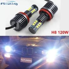 hot deal buy fstuning h8 120w led angle eyes headlight 6000k 120w white angle eyes halo bulb for bmw x1 x5 x6 e90 e92 e82 e60 e70 e71 z4 e87