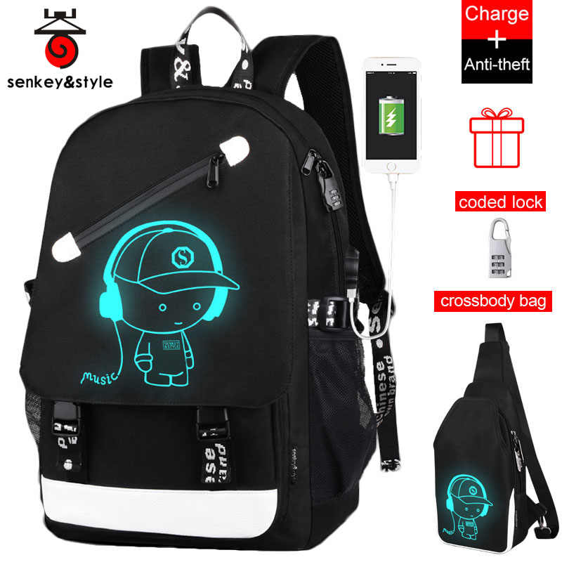 Raged Sheep School Backpack Student Luminous Animation USB Charge  Changeover Joint High School Bags Teenager anti 61ad22e32ddb8