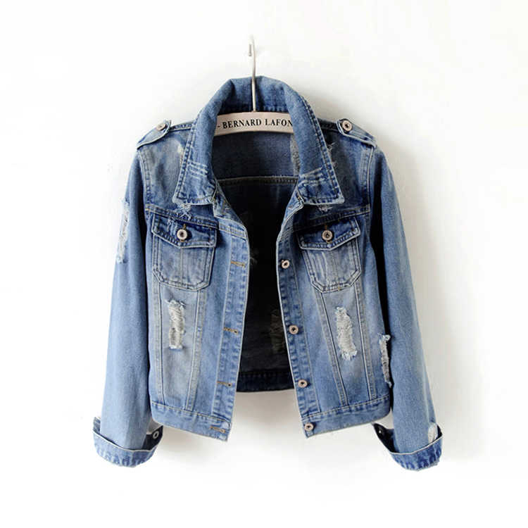 Women Denim Jacket Coat Jean Casual Pattern Female Basic Coat Slim Windbreaker Pockets Vintage Autumn Slim Lady Outwear