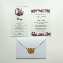 100 Sets Per Lot Unique Floral Watercolor 5x7inch Frosted Acrylic Wedding Invitation Cards