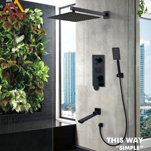 Matte Black LED Digital Display Shower Faucet Set Rain Waterfall Black Bathtub Shower System LCD Digital Shower Bath Mixer Tap(China)