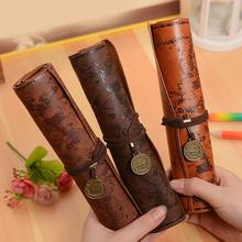 лучшая цена New 4 Style Vintage Treasure Map Pencil Case Roll Faux Leather Pen Bag Makeup Brush Pouch for Gift