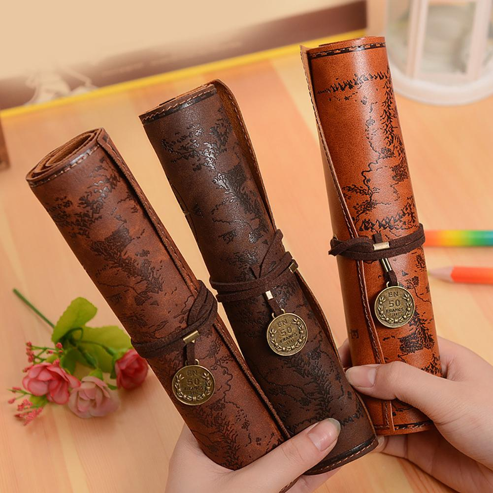 Vintage Style Rollup Pencil Case Pen Bag PU Leather flYfE Pencil Bag