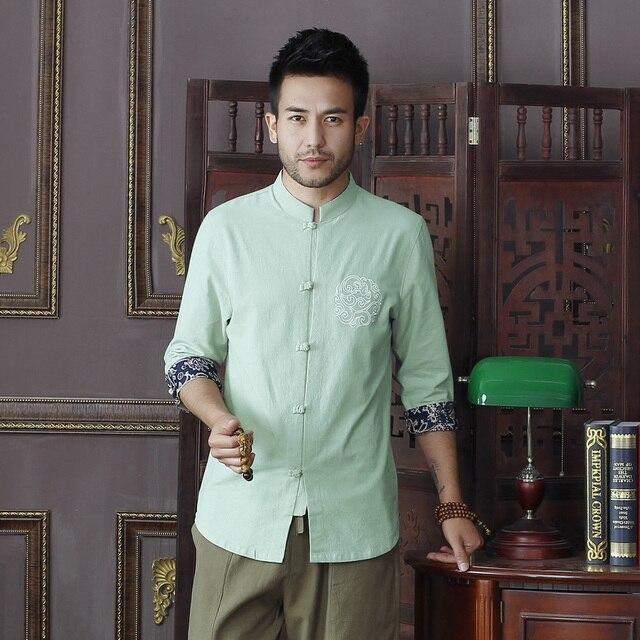 e9e87524b959 Summer Light Green Men's Cotton Linen Shirt tops Vintage Chinese Kung Fu  Short Sleeve Shirt Tang Suit Size S M L XXL XXXL D12
