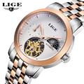 LIGE Brand Men's Moon Phase Automatic Watch man Fashion Casual Dive Business Watches men Full steel Gold watch relogio masculino