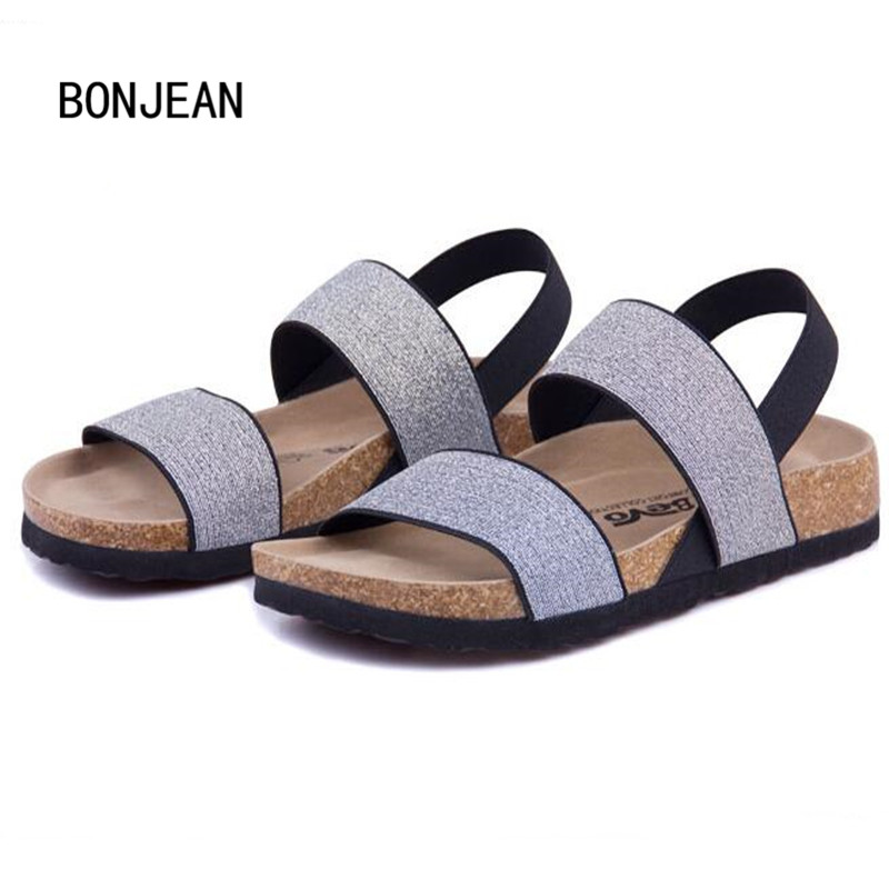 Women Sandals Cork Shoes Beach Shoes Elastic Flats with Non-slip Summer Women Zapatos Mujer Sandalias Femininas Plus Size 35-42 size 4 11 big size sandals women shoes black beading 2016 summer women flats shoes sandalias mujer check foot length