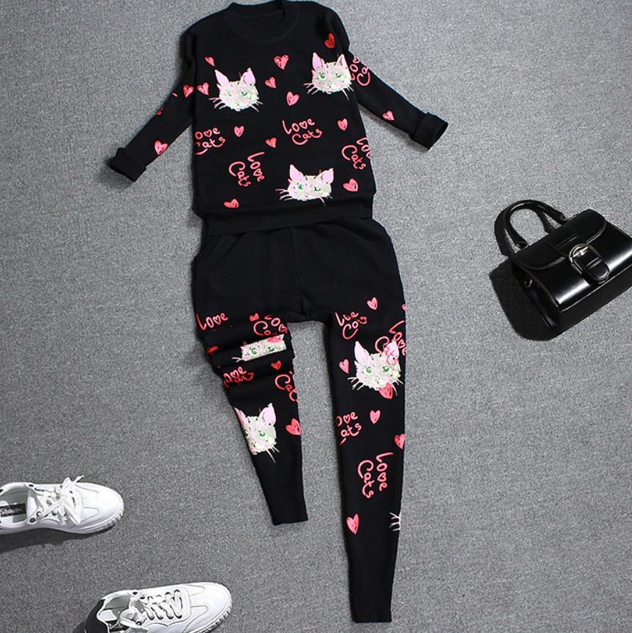 Модный весенний женский комплект 2 шт. свитер с принтом кота; вязаный костюм со штанами; комплект из двух предметов - 3
