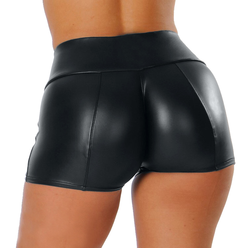 Women Leather Booty Shorts 2019 Summer Fitness Sexy Solid Black High Waist Short Pants Fashion Leather Pants Spodenki Damskie