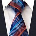 Классические Мужские Галстук Бесплатная Доставка Проверить Orange Blue Navy 100% Шелк Нью-Жаккарда Сплетенные Галстук Свадьбы