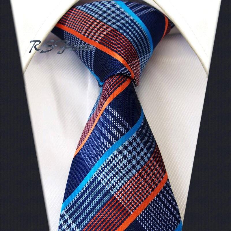 Classique Hommes Cravate Livraison Gratuite Vérifier Orange Bleu Marine 100% Soie Nouveau Jacquard Tissé Cravate De Mariage