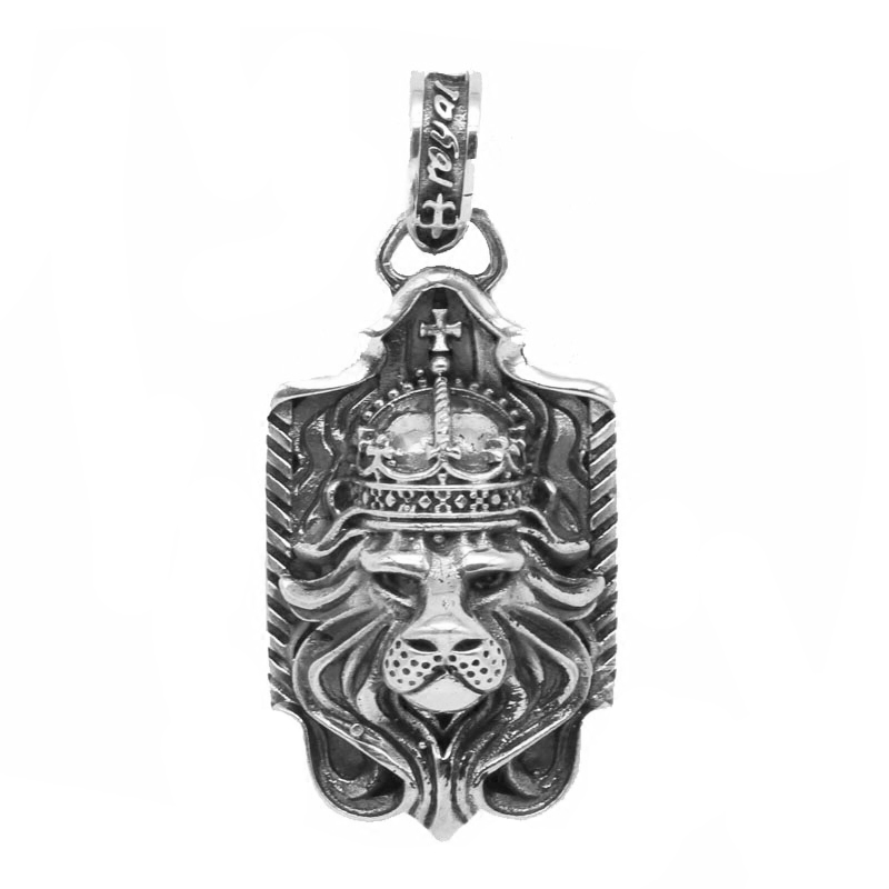 Одноцветное Серебро 925 Royal Король Лев Подвеска для Для мужчин S Цепочки и ожерелья готический Прохладный 925 стерлингов Серебряные ювелирные ...