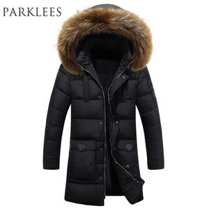 a381df8dd7cb PARKLEES Parka Winter Jacket Men Big Fur Hooded Down Jacket