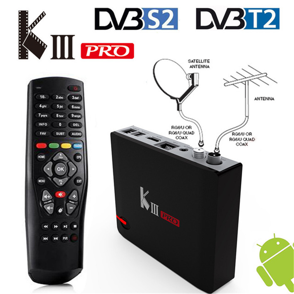 MECOOL KIII PRO DVB-S2 DVB-T2 DVB-C Intelligent Android 7.1 TV Box 3 gb 16 gb Amlogic S912 Octa Core 4 k Combo NEWCAMD Biss key PowerVU