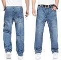 Más el tamaño 44 42 5xl 4xl hombres roca monopatín hip hop pantalones vaqueros 2014 nuevo diseñador marcas hombre pantalones holgados pantalones vaqueros de ALTA CALIDAD