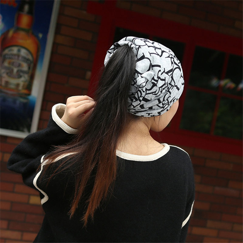 Multi-function Set head caps Thin face cap Knitted cap Imitation of cashmere hats English letters scarf Maternal confined hats49