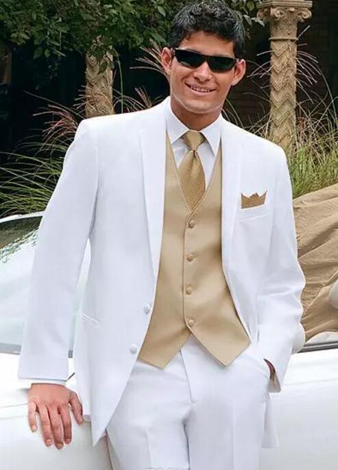 White Wedding Suits For Men Gold Vest Jacket+Pants+Tie+Vest Mens Tuxedos Wedding Tuxedos Custom Made Groomsmen Suits