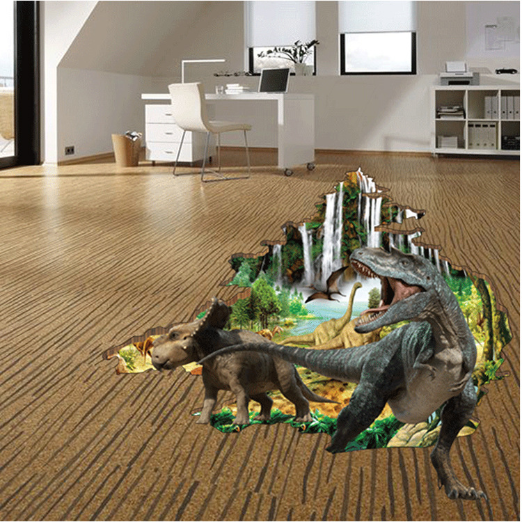 Dinosaur Walked Out Of The Jungle Wall Decals For Boys Room Fake Goldfish Swimming In Pond Floor Poster Bathroom Bedroom Decor