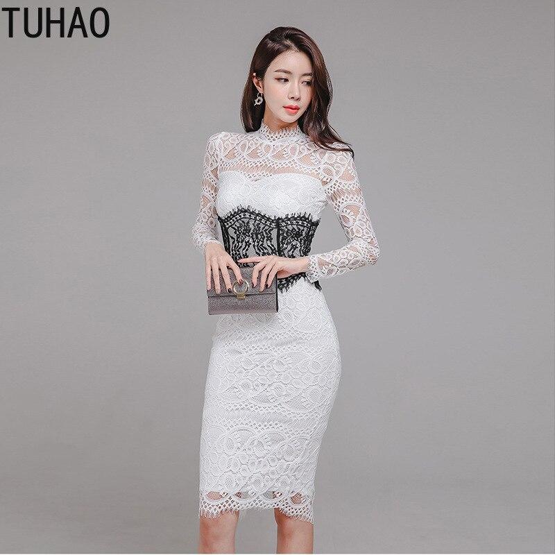 d71c2343708 Longues Crayon Robes Fête Printemps As Tenue Vintage Robe Blanc D été Tuhao Manches  Femmes En ...