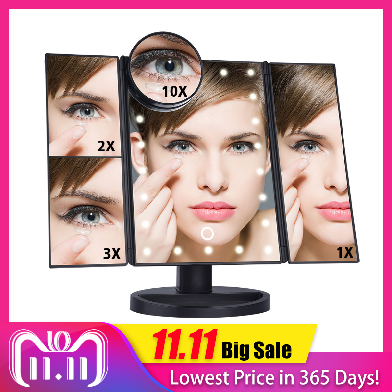 Pantalla táctil LED 22 luz mesa de espejo de maquillaje escritorio 1X/2X/3X/10X espejos de aumento vanidad 3 plegable espejo ajustable