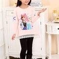Nuevo 2016 Niños de Dibujos Animados camiseta 3-8yrs Niñas Elsa Anna Princesa camisetas Niño Ropa del otoño del resorte Marca de Moda Ropa de Las Muchachas